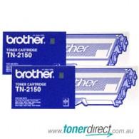 Brother TN-2150 Black Toner Cartridge - Twin Pack